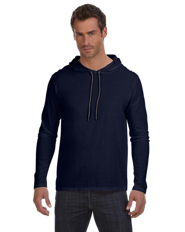 33faa950 Anvil 987 - Lightweight Long Sleeve Hooded T-Shirt