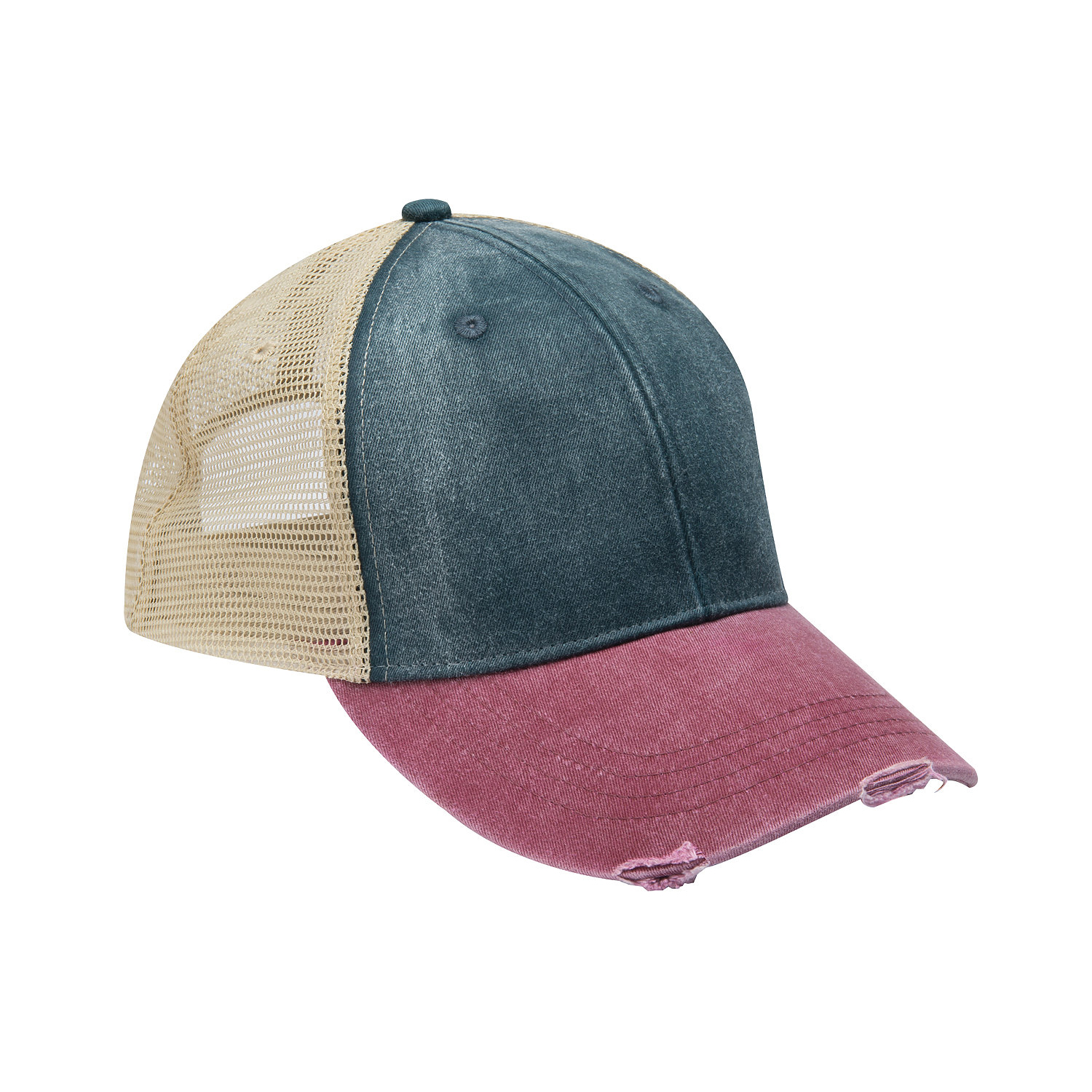 ce9b9ebeb Adams OL102 - 6-Panel Pigment-Dyed Distressed Trucker Cap | Wordans