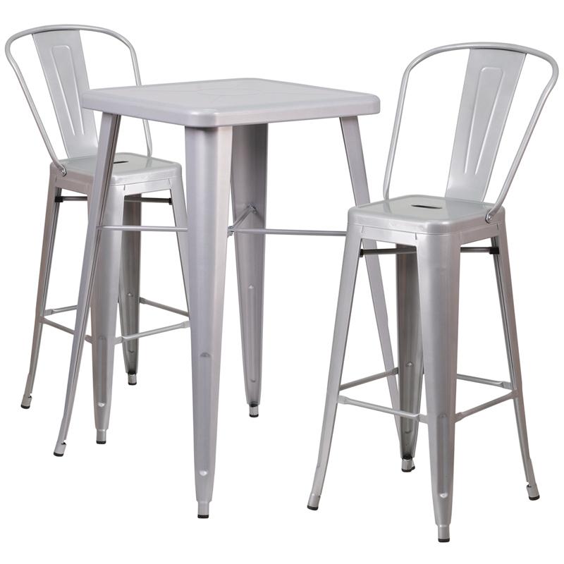 Flash Furniture CH-31330B-2-30GB - 23.75u0027u0027 Square Metal Indoor-Outdoor Bar Table Set with 2 Stools with Backs  sc 1 st  Needen & Flash Furniture CH-31330B-2-30GB - 23.75u0027u0027 Square Metal Indoor ...