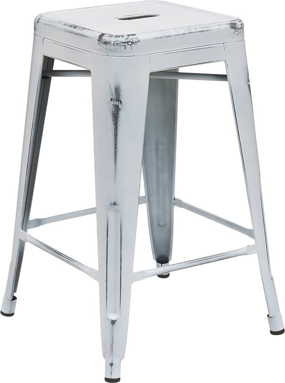 Flash Furniture ET BT3503 24   24   High Backless Distressed Metal  Indoor Outdoor Counter Height Stool. Flash Furniture ET BT3503 24   24   High Backless Distressed Metal