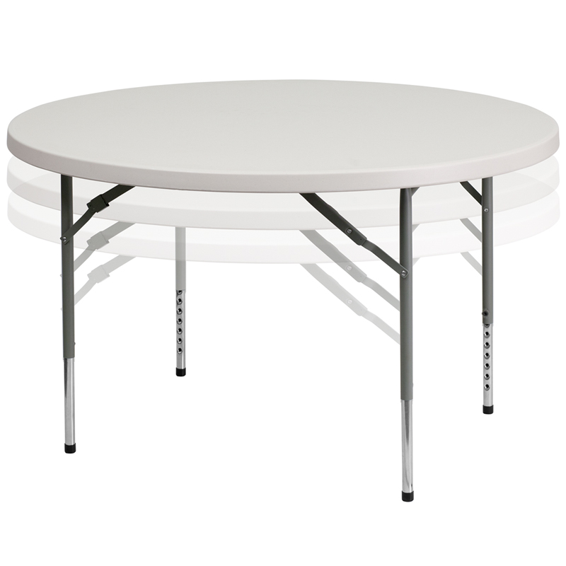 Flash Furniture RB 48 ADJUSTABLE   48u0027u0027 Round Height Adjustable Plastic Folding  Table