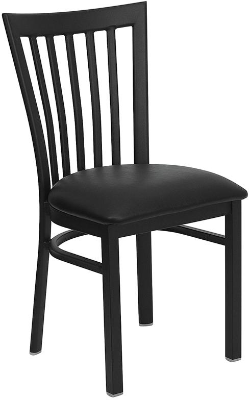 Flash Furniture XU DG6Q4BSCH   HERCULES Series Black School House Back  Metal Restaurant Chair   Black Vinyl Seat