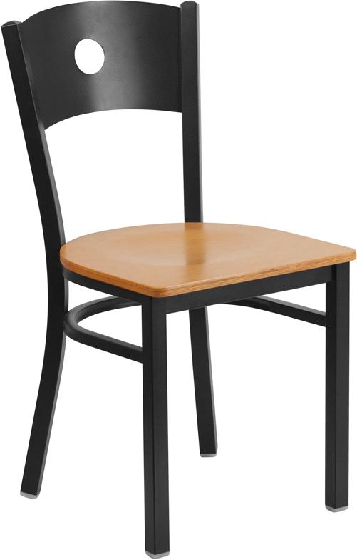 Flash Furniture BFDH DG 60119 CIR   HERCULES Series Black Circle Back Metal  Restaurant Chair   Black Vinyl Seat